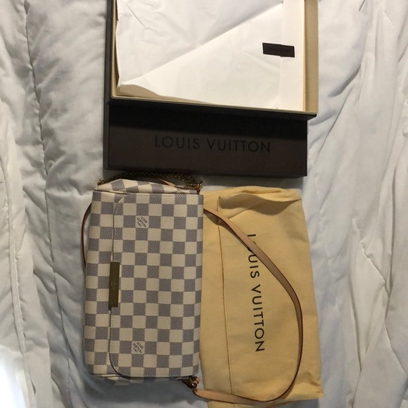 f2afe017bfc4 Favorite MM DAMIER Azur w  Dust Bag   Box